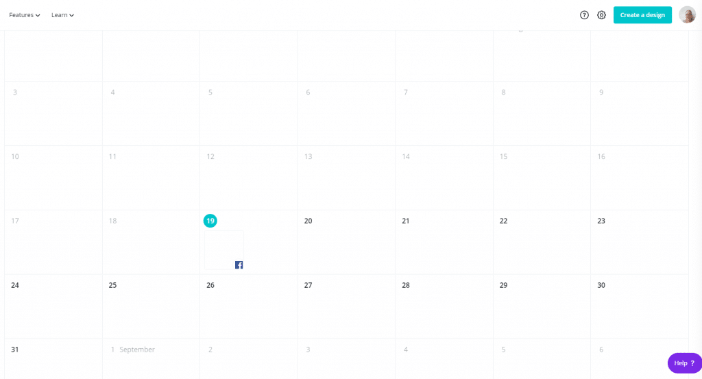 calendar showing a published Facebook post in Canva