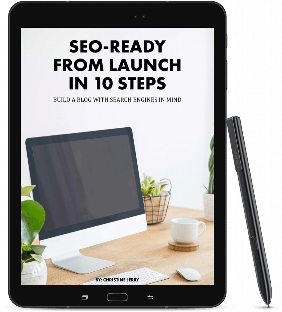 seo-ready e-book on a black tablet